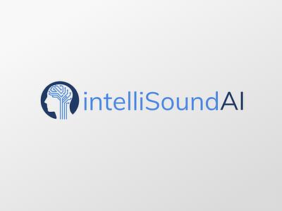 intelliSoundAI Logo neural network logo design machine learning blue icon branding design sketch ai logo