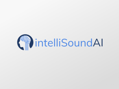 intelliSoundAI Logo neural network logo design machine learning blue icon branding design sketch ai logo