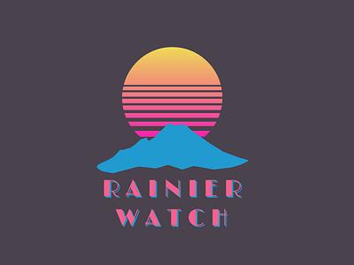 Synthwave Tee Design - Rainier Watch moon sun limelight design retrowave synthwave outrun shirt mountain rainier watch t-shirt tshirt