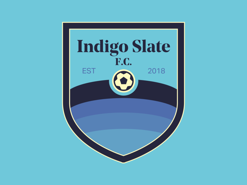 Indigo Slate FC football club noe display bold aktiv grotesk crest logo indigo slate fc football futbol badge crest soccer