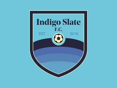 Indigo Slate FC football club noe display bold aktiv grotesk crest logo indigo slate fc football futbol badge crest soccer