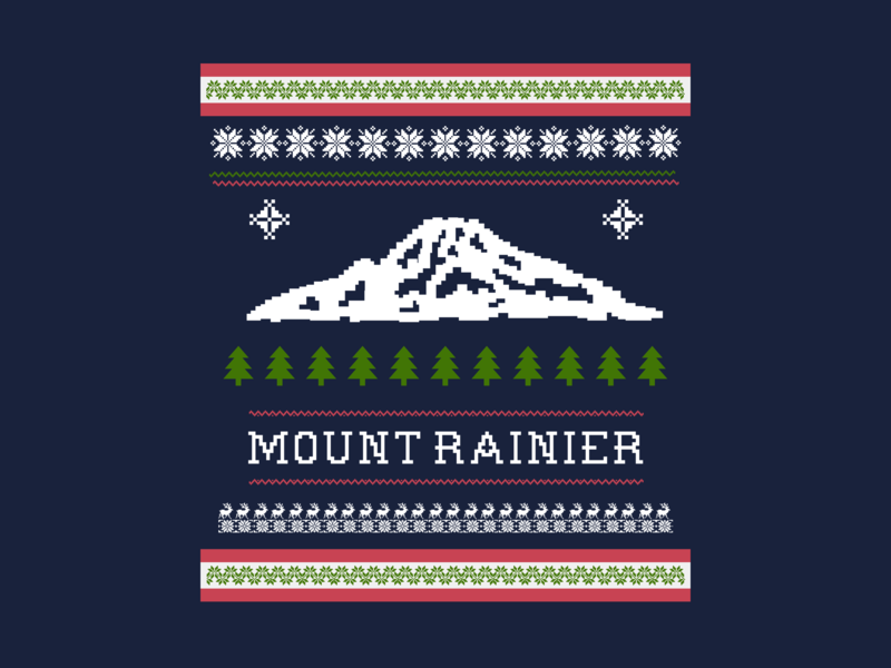 'Ugly Christmas' Sweater - Mount Rainier Edition national park outdoors mountains mt rainier rainier watch ugly christmas christmas holidays ugly christmas sweater mount rainier design