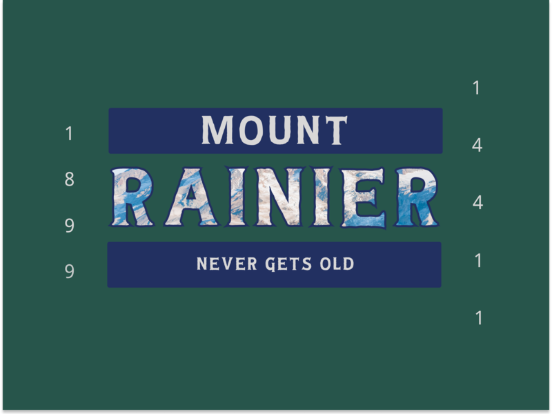 Mount Rainier - Never Gets Old feedbackplease pnw tee rainier watch outdoors typography retro throwback vintage oldman design vector mountain mount rainier