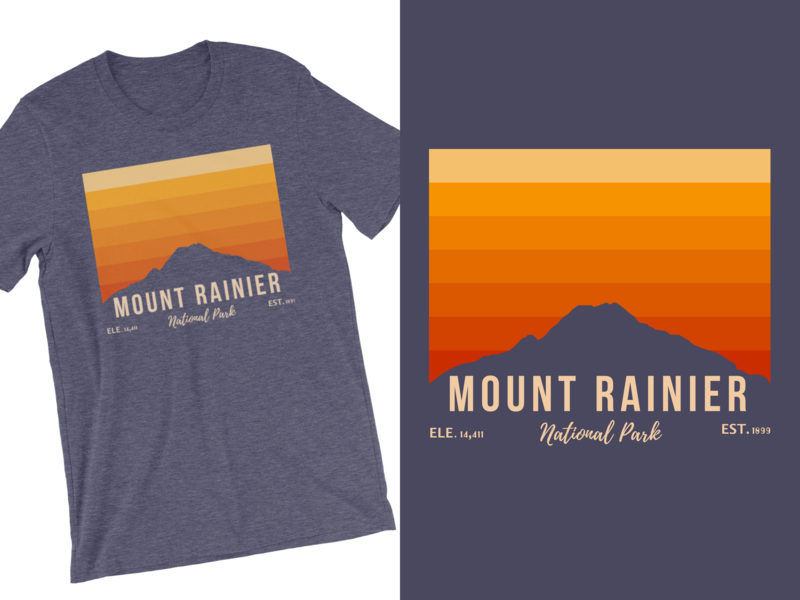 Mount Rainier Sunrise Tee sketch rainier watch national park seattle mountains mt rainier pnw washington state mountain nature clothing apparel shirt tee shirt t-shirt mount rainier