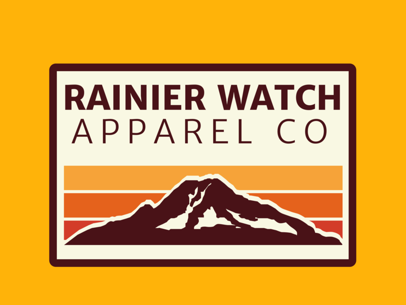 Rainier Watch Apparel Co Badge apparel rainier watch pacific northwest washington mountains badge design design merriweather sans pnw washington state rainier mtrainier mount rainier mountain badge
