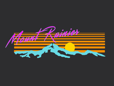 Synthwave 2 mt rainier synth figma feedbackplease pnw 80s style 1980 1980s 80s outrun synthwave t-shirt apparel logo mountain sketch rainier watch mount rainier design