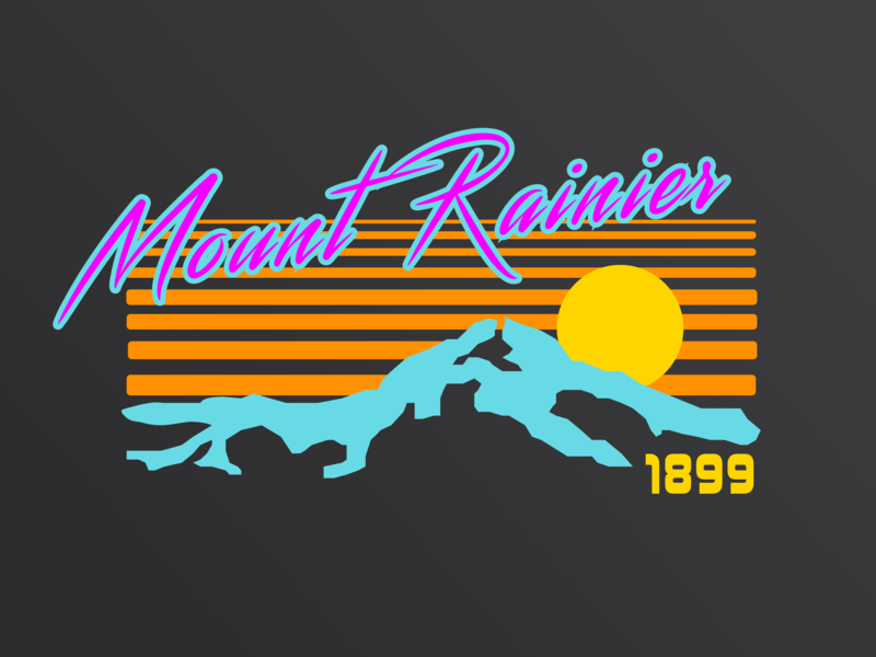 Synthwave - A Rebound t-shirt apparel mountains figma feedbackplease 80 style 80s shirt 80s retro mountain mt rainier mount rainier rainier watch synthwave outrun