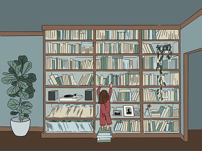 Bookworm digital plants editorial illustration