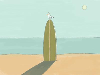 Gull seagull sun beach surfboard paradise illustration surfing surf