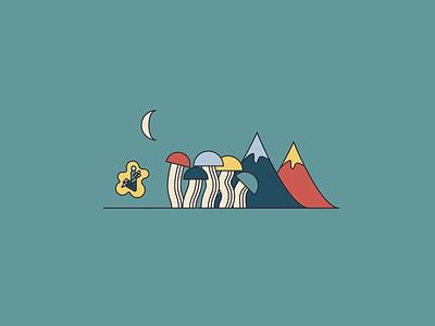 Origin Mushroom Postcards Illustration moon brand illustration branding vectore illustration mountains mushroom minimal