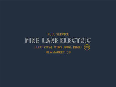 Pine Lane Electric Branding typographic logo badge logo vintage branding electrician typography vintage logo brand identity branding