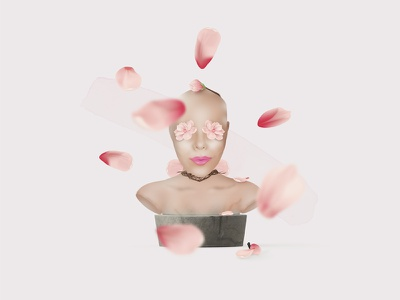 M A G N O L I A graphic design face conceptual art illustration magnolia minimalistic statue portrait head pink flower