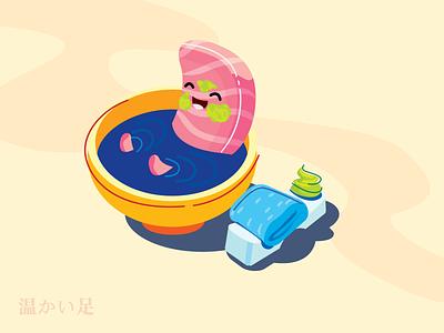 Sushi Bath illustration fun salmon sashimi sushi