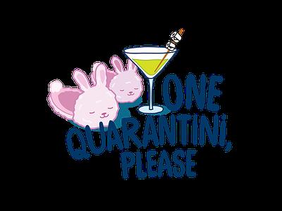 Quarantini covid19 quarantine t-shirt design bunny illustration martini