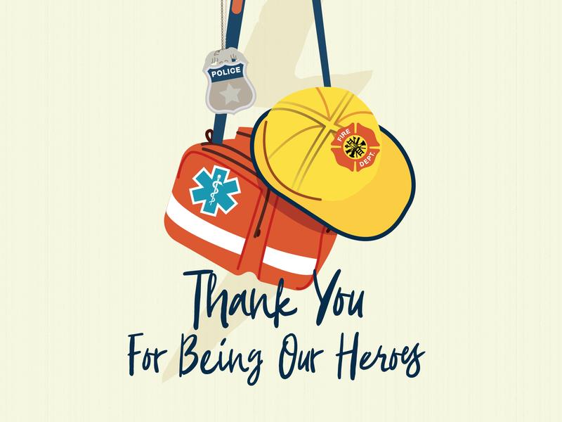 First Responders - Thank You police nurse emergency vector emt illustration covid19