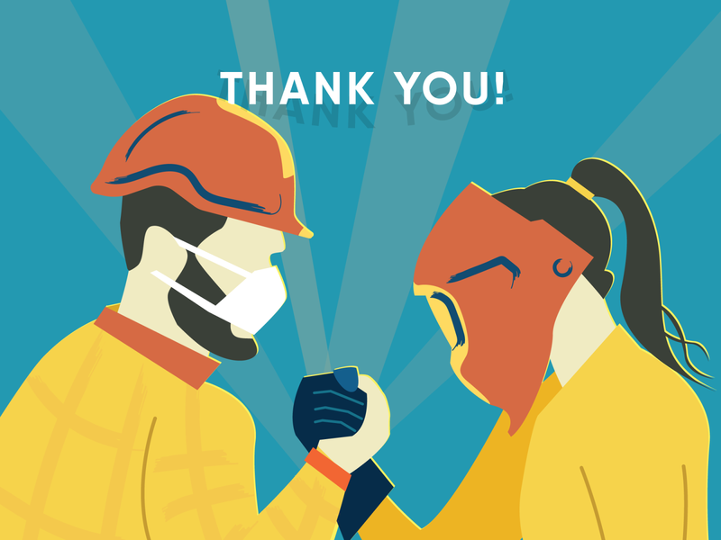 Thank You Frontline Workers illustration thank you factory worker construction worker covid19