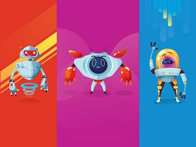 3 Robot Friends robotics robots adobe illustrator illustrator pink blue sketch drawing redesign concept illustration art fun red robot illustration