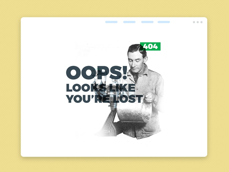 404 Page retro steel web page web design 404