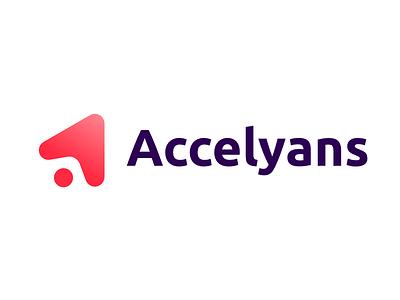 Logo Accelyans identity triangle icon logotype gradient branding logo