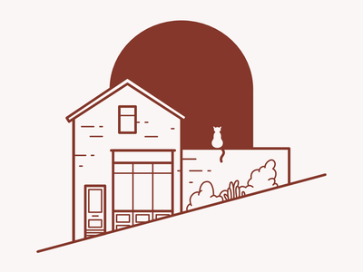 Illustration outline vector design flat cat store shop building illustration