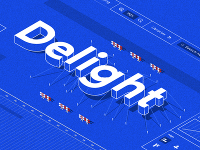 Delight isometric illustration isometric letters type art type delight illustration