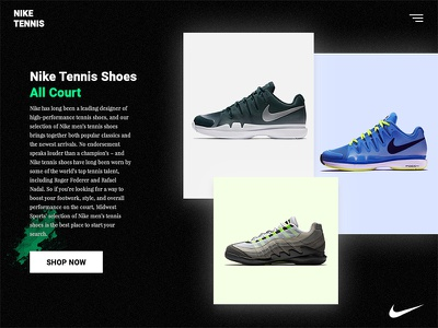 Nike Tennis All Court Shoes ecommerce shop nike home screen ui