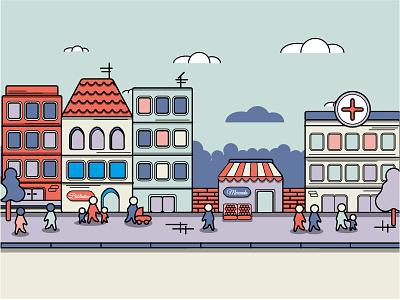 Child's Health town health illustration