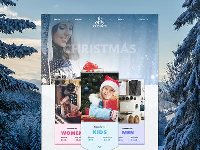 Christmas presents web site design web design clean navigation website ux ui design christmas concept invite webdesign web