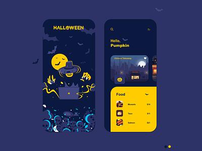 Halloween Restaurants Rent app dribbbleweeklywarmup halloween design design ux mobile mobile app design interface clean illustration app ui halloween