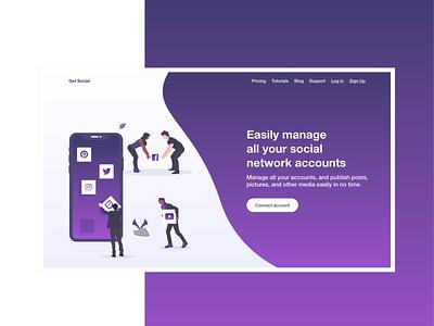 Landing Page for Social Networks Managing Tool gradient shadow purple modern branding landing page networks design illustration web ui