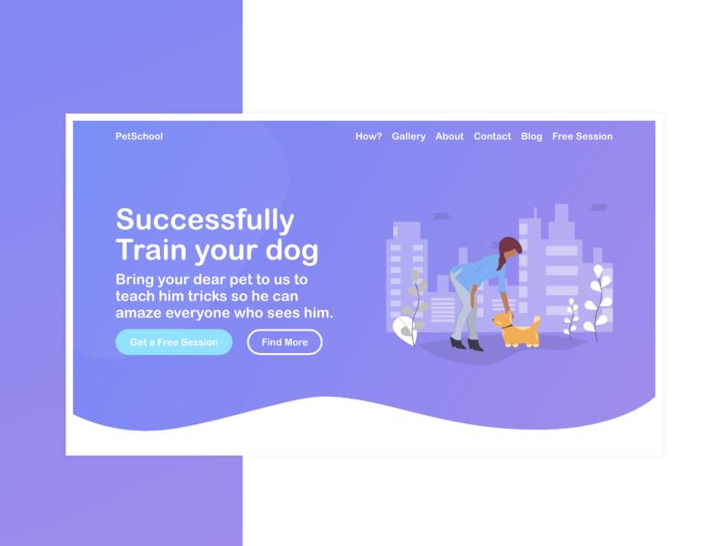 Pet Training Landing Page | Web Design | Illustration