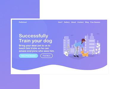 Pet Training Landing Page | Web Design | Illustration modern app landing gradient minimalistic landing page web design illustration modern