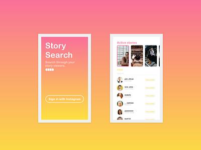 Search Insta Story Viewers App simple app gradient uxdesigner uxdesign ui design app design app xd adobe xd