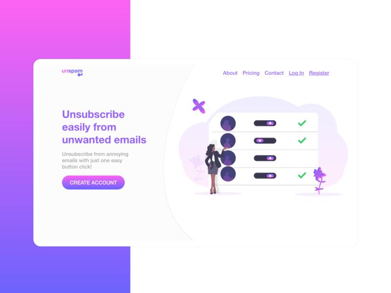 Unsubscribe Web App (SAAS) Landing page