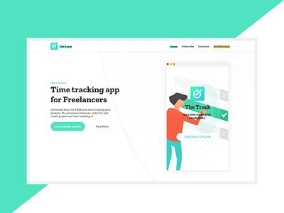 The Track | Landing page for desktop app | SOON sketch app adobe xd time modern minimal clear gradient bright landing page design web design landing page app