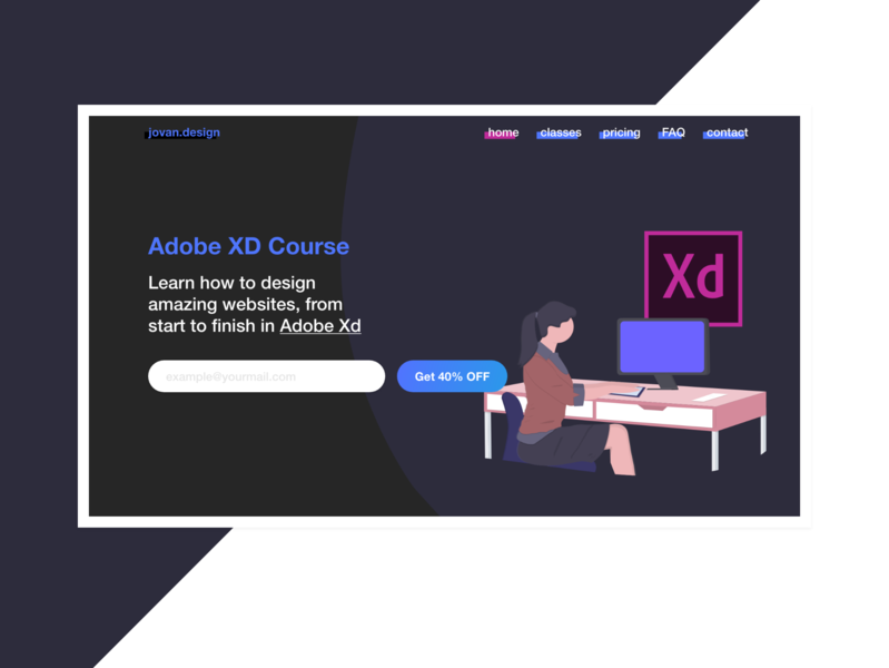 Landing page for a design course