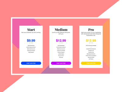 Pricing Section Web Design | Colorful | Shapes bright section ui design material flat shapes colorful pricing section pricing page web design ui