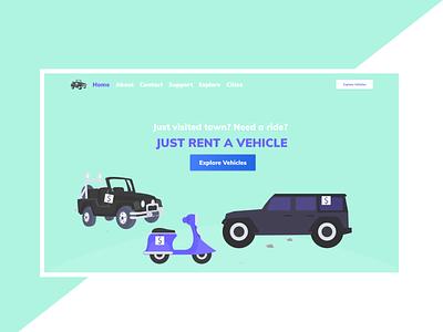 Landing Page For Rent a Car | Flat | Simple rent car elegant bright light illustration flat simple landing page