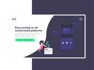 Landing Page for Sharing Posts on All Social Networks vector design app illustration minimal adobe xd web design modern landing page