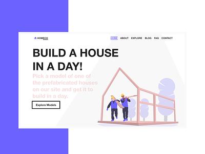 Landing Page for a Construction Company | Brutalism modern uidesign brutalism adobe xd bright web design illustration landing page