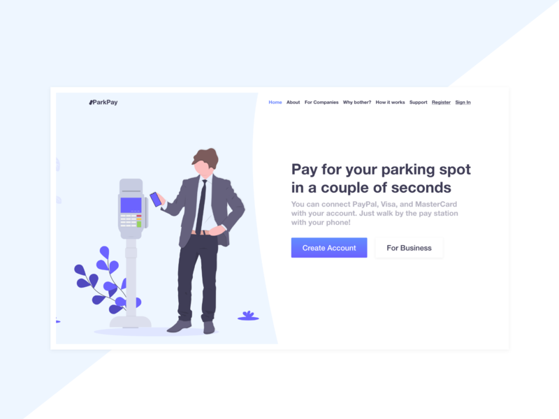 Landing Page for Parking Payment App - Light Design