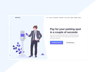 Landing Page for Parking Payment App - Light Design app landing page ui design ui app design bright adobe xd gradient illustration web design landing page
