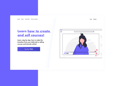Landing Page Design for Selling Courses adobe xd illustration trend sell services clean modern high conversion services landing page web design landing page