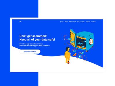Landing Page for Data Safety App web app app website landing page for app ui design app design web design modern illustration landing page