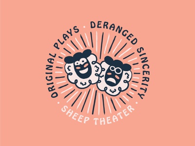 Highlighting the Deranged Confidence of Humanity illo illustration plays original sincere deranged blue pink design shirt theatre theater sheep