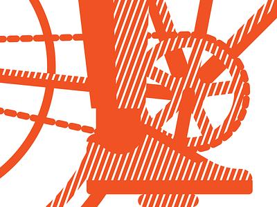Creamsicle Kicks & Cranks orange texture poster linework hatching illustration chain gear crank kicks shoe shoes cyclist bike bicycle