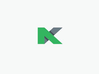 Look, it's an N! No, it's a K! No! It's a Monogram! simplicity depth gray grey black green mark identity logo monogram nk
