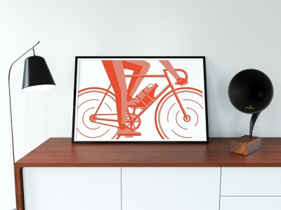 Get it While it's Still Hoppin' line work design poster screen print growler brewing beer cyclist bike bicycle orange