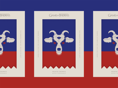 Game of Thorns texture crest banner flag sigil cream red blue type typography illustration goat poster thorns thrones of game