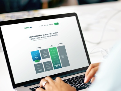 Pricing Table marketing platform clean green blue ux ui engage pricing